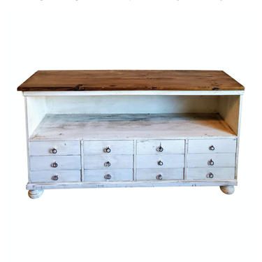 Antique Rustic American Painted White Shop Work Bench Console - Apothecary Multi Drawer Cabinet Wood Plank Top! Country Farmhouse Industrial by RabidRabbitAntiques