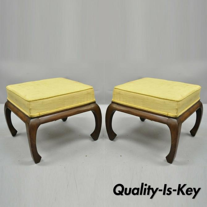 Pair of Vintage Chinoiserie Ming Style Box Seat Upholstered Ottomans Stools