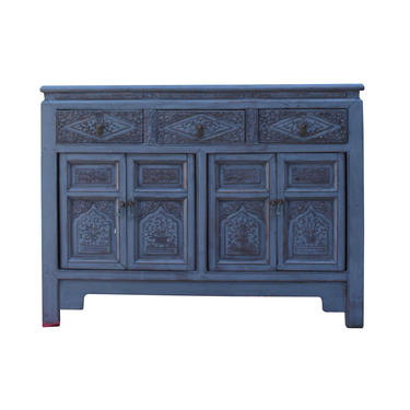 Chinese Distressed Gray Floral Motif Sideboard Console Table Cabinet cs5768E by GoldenLotusAntiques