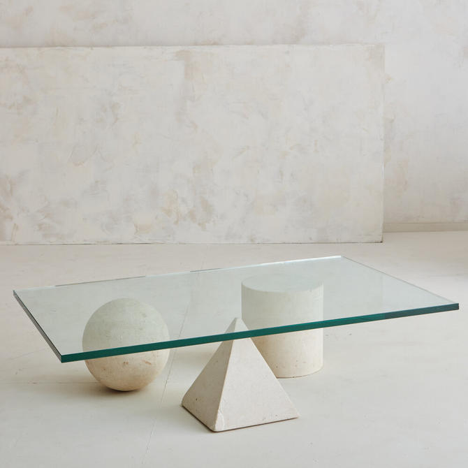 Geometric Limestone Shapes Coffee Table In the style of Massimo Vignelli