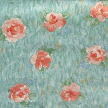 Vintage Floral Watercolor Fabric DMC Texunion Teflon 1.2 Yds by MetroRetroVintage