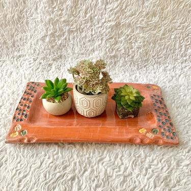 Painted Pottery Tray, Modern Abstract Design, Glazed Pottery, Vintage Decor by GabAboutVintage