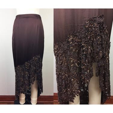 90s Caché Brown Silk Satin Beaded TANGO Skirt S by FlashbackATX