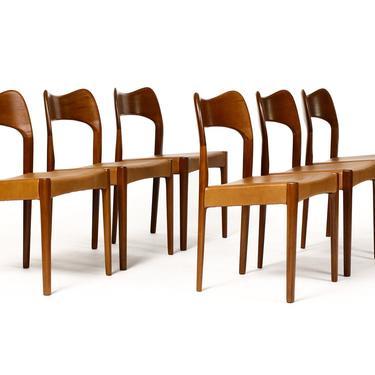 Danish Modern / Mid Century Teak Dining Chairs — Set of 6 — Cognac Leather — A.H. Olsen for Mogens Kold by atomicthreshold