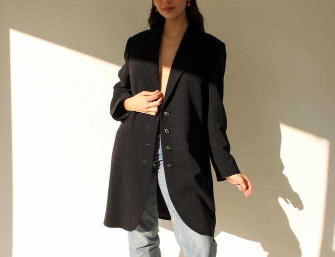 Vintage 90s Yves Saint Laurent Black Wool Gabardine Unstructured Blazer Jacket   Made in France   1990s YSL Designer 3/4 Length Overcoat by TheVault1969