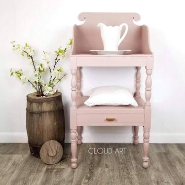 Antique Washstand Entry Side Table Nightstand Damask Mauve Brown Neutral Pink Floral Home Decor Furniture Hall Table Small Table Farmhouse by CloudArtbyKristen