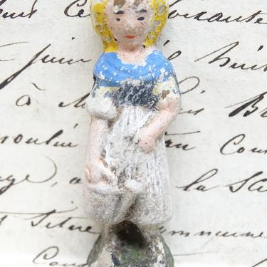 Antique Miniature French Hand Painted Composite Girl or Woman with Watering Can, Vintage Toy  for Putz or Nativity,  Doll House by exploremag
