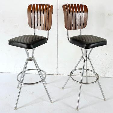 Pair Mid-Century Modern Slat Back Barstools by secondhandstory