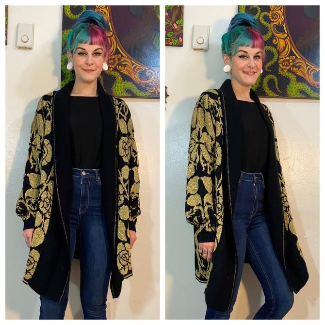 Vintage 1980's Gold and Black Sweater by SurrealistVintage