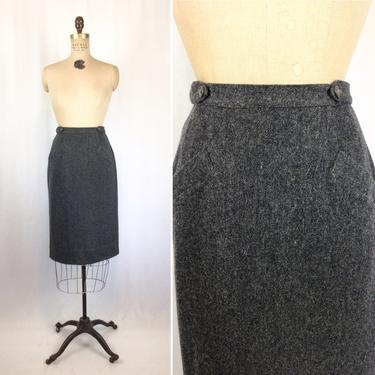 Vintage 50s skirt | Vintage charcoal grey wool pencil skirt | 1950s dark gray century of Boston wrap skirt by BeeandMason