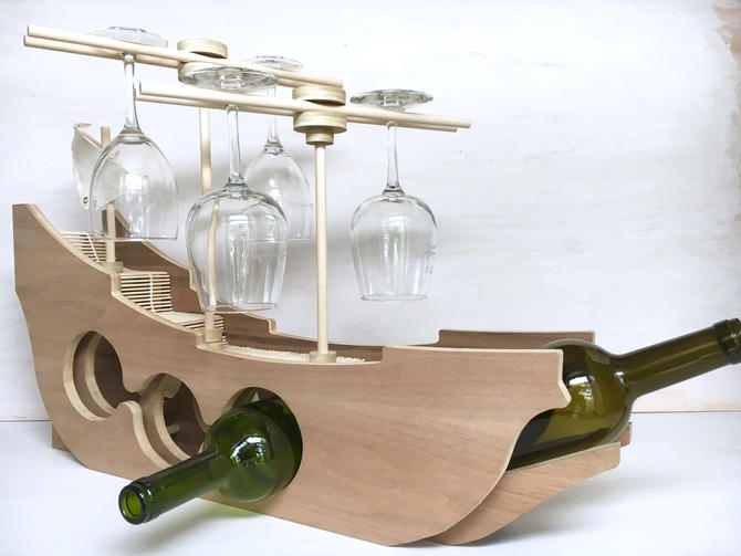 Wooden Ship Wine Rack by TheNimbleBarber