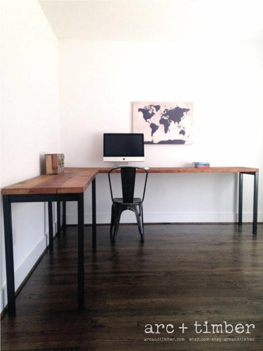 The SAWYER L-Shaped Desk - Reclaimed Wood & Steel - Industrial Desk - Custom Lengths by arcandtimber