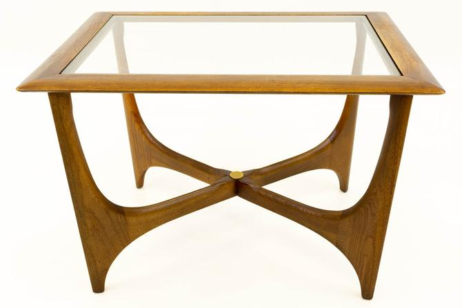 Adrian Pearsall for Lane Mid Century Walnut & Glass Sculptural Side End Table - mcm by ModernHill