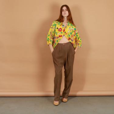 80s Dark Khaki Silk Pants Vintage Classic High Waist Trousers by AppleBranchesVintage
