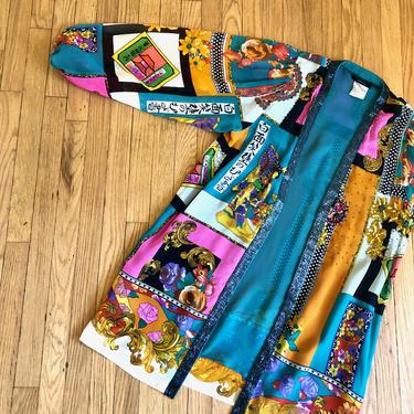 Diane Freis Silk Cardigan // vintage 80s 1980s boho hippy beaded neon dress top shirt hippie high fashion blouse kimono // O/S by FenixVintage