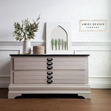 Farmhouse Storage Bench with Drawers and Plank Top by AminiDesignAshburn