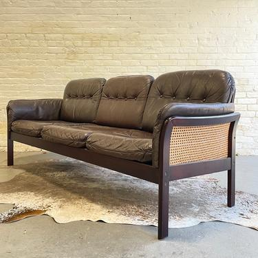 Mid Century Modern CANED + TUFTED Leather SOFA / Couch by CIRCA60