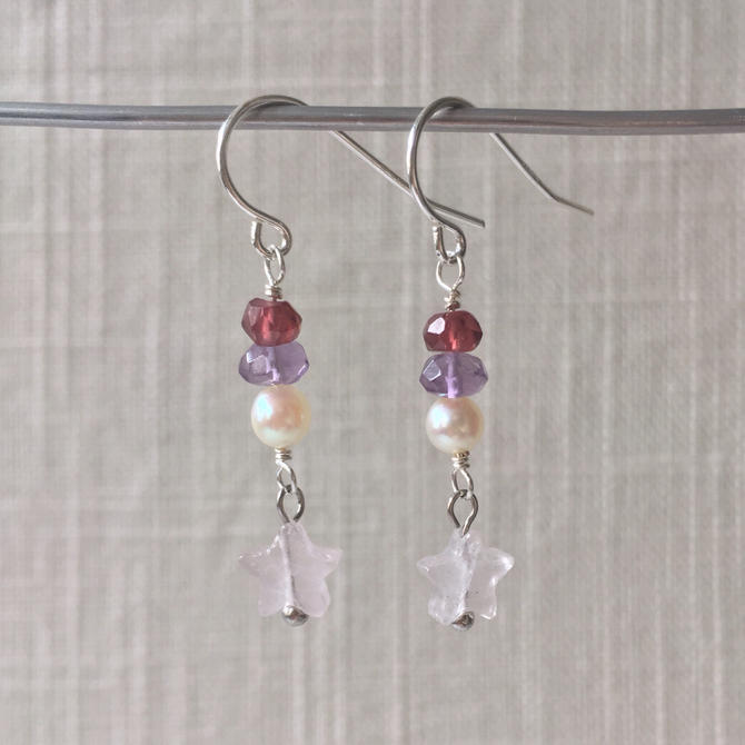 Beach City Collection: Crystal Gems Earrings [garnet, amethyst, pearl, rose quartz] by nonasuch