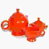 Fiesta Art Deco Red Tea Set ORIGINAL c1930s by Curiopolis