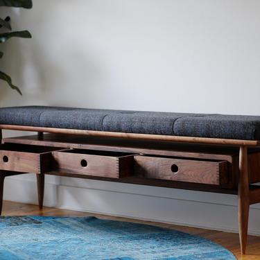 Mid Century Modern Entryway Bench, Upholstered Wood Hallway Seating, Handmade Mudroom Storage Furniture by BeautyBreadWoodshop