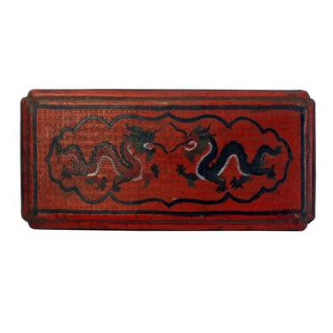 Chinese Distressed Red Lacquer Chinoiserie Rectangular Shape Treasure Box ws160E by GoldenLotusAntiques
