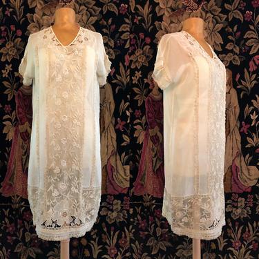 20s cotton & lace tea dress / vintage 1920s antique drop waist flapper dress Art Deco Gatsby party era size M by ritualvintage