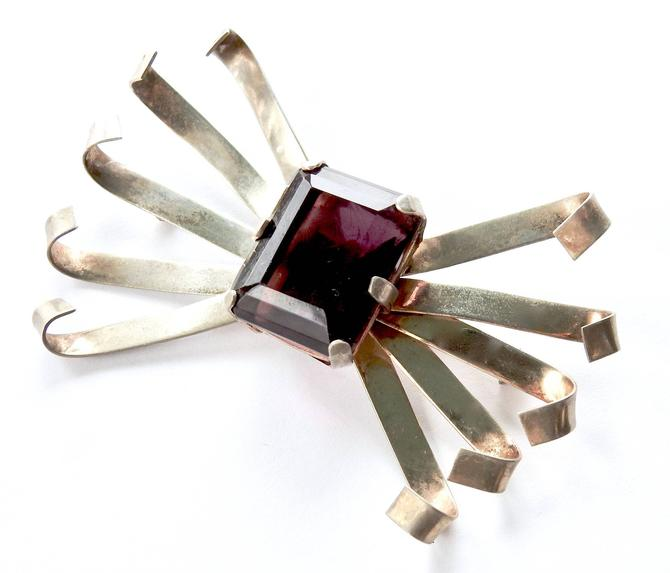 Sterling Smokey Quartz Modernist Large Brooch by LegendaryBeast