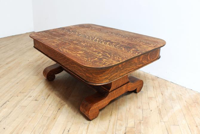 Antique Quarter Sawn Oak Coffee Table American Empire Tiger Oak White by 330ModernAntique