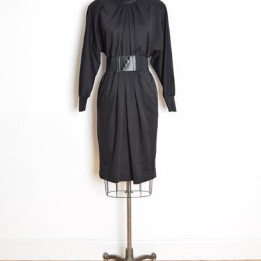 vintage 80s dress black knit futuristic dolman minimalist draped midi dress L clothing by huncamuncavintage