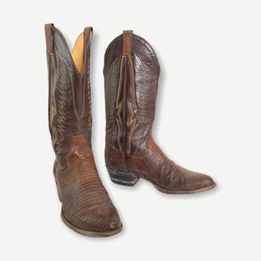 Vintage SANDERS 2-Tone Lizard Skin Cowboy Boots ~ men's 9 D / women's 10 1/2 ~ Western ~ Rockabilly ~ Biker ~ Handmade by SparrowsAndWolves