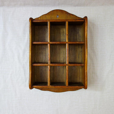 """Wood Curio Hanging Wall Shelf 14"""" x 9.5"""" Perfect for Crystal Storage, Display Shelving, Shadow Box, Miniature Collection by forestfathers"""