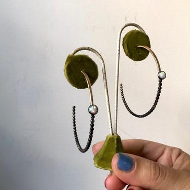 Black and Gold Opal Hoops Handmade Art Hoop Earrings One of a Kind by RachelPfefferDesigns
