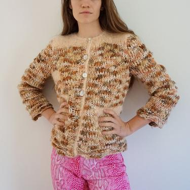 Hand Knit Angora and Wool Pink Knit with Abalone Buttons Made in France Sweater Vintage Cardigan by backroomclothing