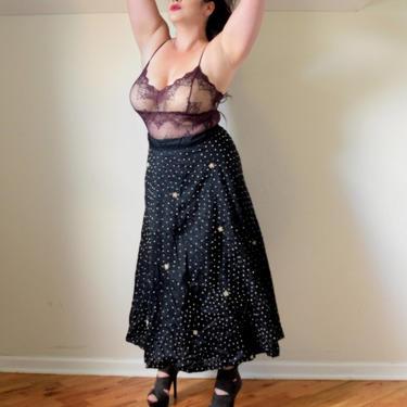 50s Maxi Skirt | Vintage Skirt | Black Skirt | Pearl Skirt | Full Length Skirt | Mid Century Skirt | Medium Skirt M | Size 10 Skirt by aphroditesvintage