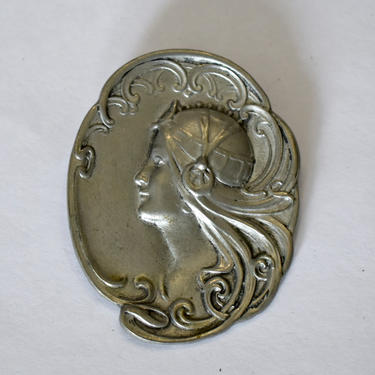 70's Hudson Fine Pewter Art Nouveau style woman's portrait pin pendant, large detailed Mucha-inspired romantic lady's profile pewter brooch by BetseysBeauties