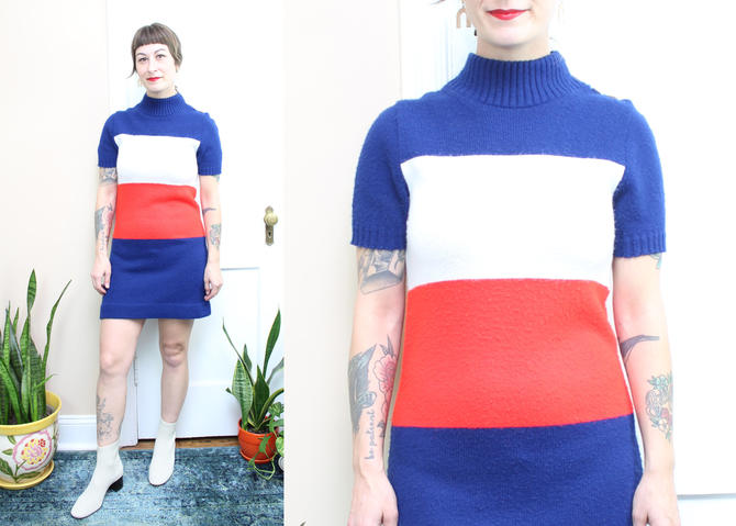Vintage 70's Soft Acrylic Sweater Dress / 1970's French Red White and Blue Mini Dress / Mock Neck Dress / Women's Size XS - Small by RubyThreadsVintage
