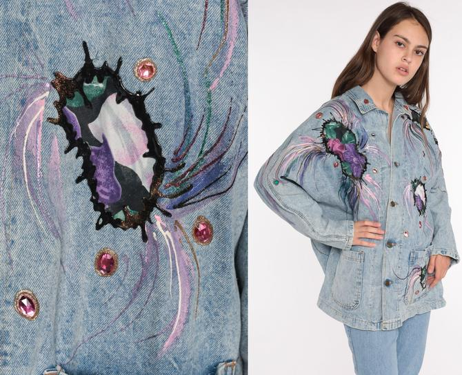 90s Denim Jacket Painted Beaded Jacket ACID WASH Jean Jacket Glitter Jacket Vintage Jacket Button Up Blue 1990s Oversize Medium Large xl by ShopExile