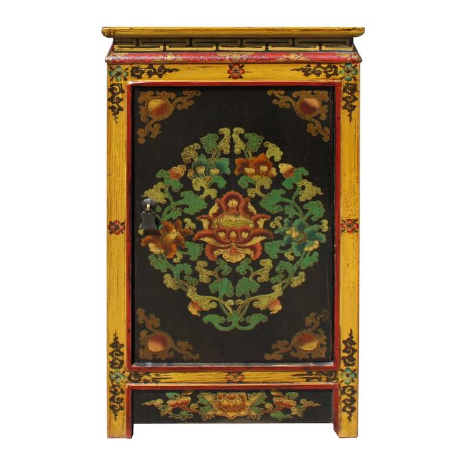 Black Yellow Tibetan Style Floral End Table Nightstand cs5766S