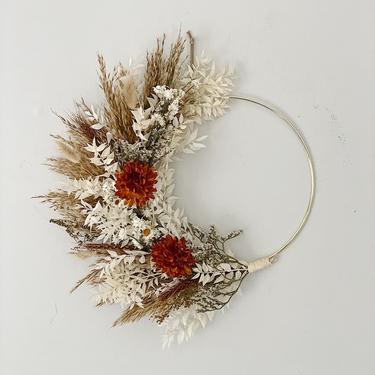 Rustic Boho Burnt Orange Dried Flower Wreath, Dried Foliage Wreath, Neutral everlasting wreath, Dried flower arrangement by NovaWreaths