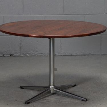 Round Rosewood and Chrome Pedestal Base Coffee Table