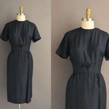 1950s vintage dress | Parkshire Navy Blue Silk Cocktail Party Pencil Skirt Dress | Large | 50s dress by simplicityisbliss