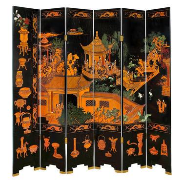 Large 6 Panel Artisan Chinese Screen Sold Through Karl Springer 1980s