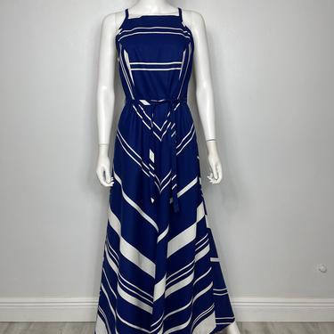 Vtg 70s cotton chevron Malia Hawaii strappy dress SM by AnimalVintageMiami