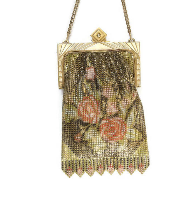 38bed61e14b Whiting & Davis Enamel Mesh Purse Antique Accessories Flappers Purse ...