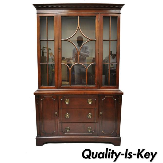 Antique Mahogany & Glass Georgian Style Curved Front China Cabinet Curio Display
