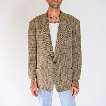 Vintage 80s Giorgio Armani Tan & Black Textured Tartan Plaid Blazer | Made in Italy | Oversized, Relaxed Fit | 1990s Armani Designer Jacket by TheVault1969