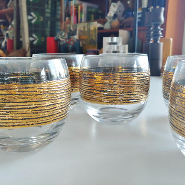 Vintage Modern Roly Poly Lowball Whiskey Glasses with Gold Accent - Set of 6 by ModandOzzie