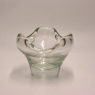 vintage art glass bowl with curled edges by suesuegonzalas
