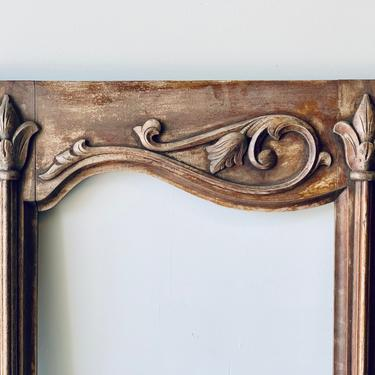 Large Antique Carved Wood Frame   1940s Furniture   Cupboard Door   Wardrobe Door   Full Length Mirror   Long Chalkboard Sign Picture Frame by PiccadillyPrairie