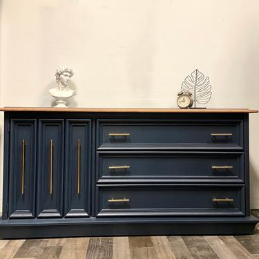 Refinished Broyhill MCM style navy blue dresser with 6 drawers solid wood / credenza / buffet / tv stand / nursery by RelovedFurnitureStor